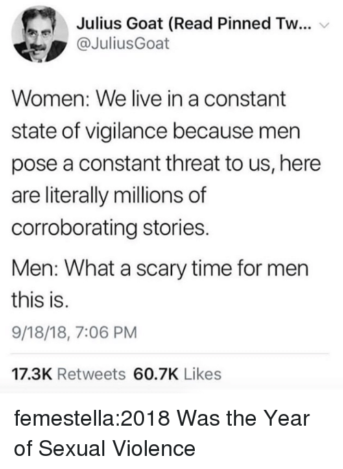 Target, Tumblr, and Goat: Julius Goat (Read Pinned Tw  @JuliusGoat  Women: We live in a constant  state of vigilance because men  pose a constant threat to us, here  are literally millions of  corroborating stories.  Men: What a scary time for mern  this is.  9/18/18, 7:06 PM  17.3K Retweets 60.7K Likes femestella:2018 Was the Year of Sexual Violence