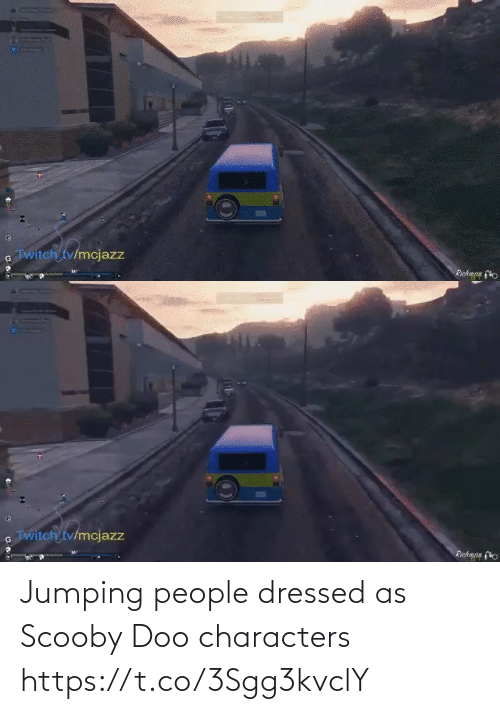Characters: Jumping people dressed as Scooby Doo characters https://t.co/3Sgg3kvclY