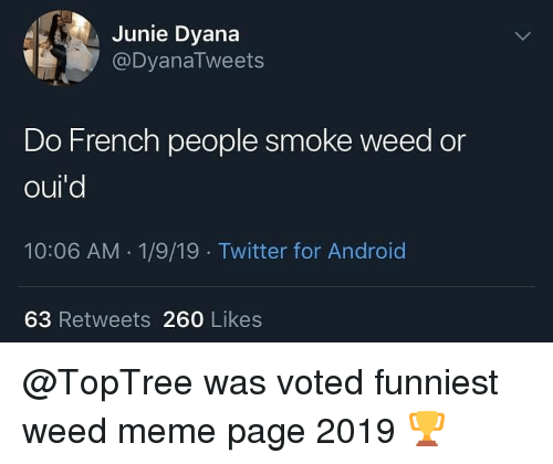 weed meme: Junie Dyana  @DyanaTweets  Do French people smoke weed or  oul  10:06 AM 1/9/19 Twitter for Android  63 Retweets 260 Likes @TopTree was voted funniest weed meme page 2019 🏆
