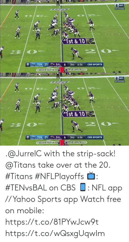 CBS: .@JurrelC with the strip-sack!  @Titans take over at the 20. #Titans #NFLPlayoffs  📺: #TENvsBAL on CBS 📱: NFL app // Yahoo Sports app Watch free on mobile: https://t.co/81PYwJcw9t https://t.co/wQsxgUqwIm