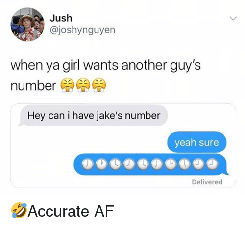Jakes: Jush  @joshynguyen  when ya girl wants another guy's  number  Hey can i have jake's number  yeah sure  Delivered 🤣Accurate AF