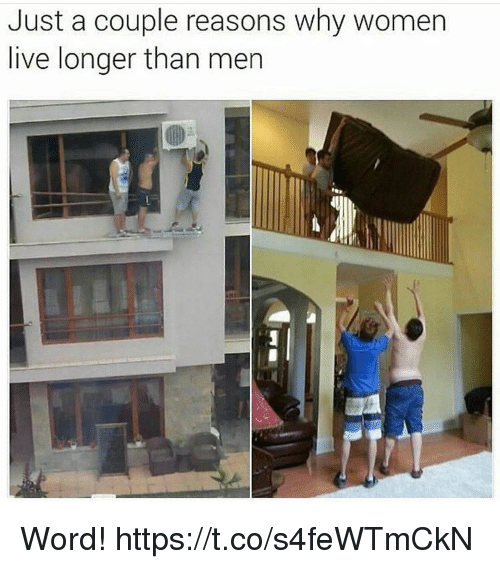 Live, Women, and Word: Just a couple reasons why women  live longer than mer Word! https://t.co/s4feWTmCkN