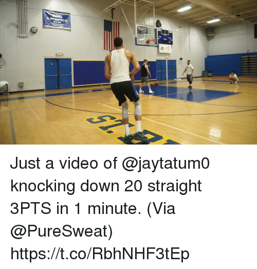 Memes, Video, and 🤖: Just a video of @jaytatum0 knocking down 20 straight 3PTS in 1 minute.   (Via @PureSweat)  https://t.co/RbhNHF3tEp