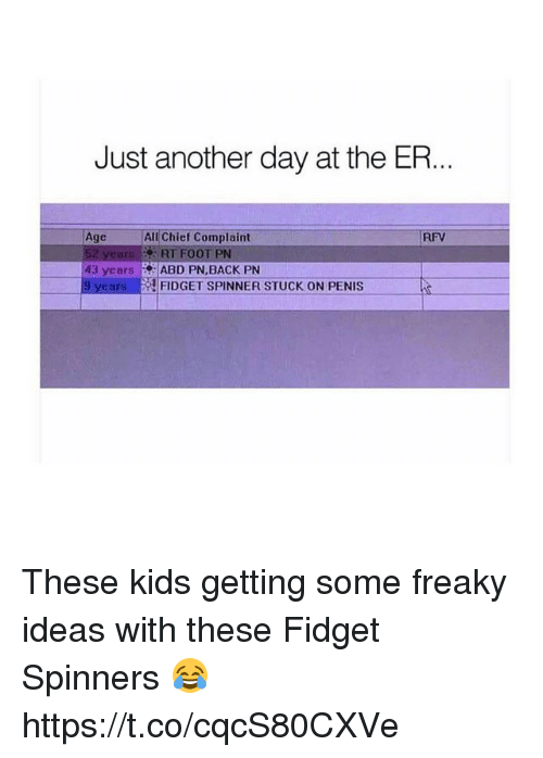Memes, Kids, and Penis: Just another day at the ER.  Age  All Chief Complaint  FIFV  52 years RT FOOT PN  43 years |.. ABD PN.BACK PN  9 yearsF  FIDGET SPINNER STUCK ON PENIS These kids getting some freaky ideas with these Fidget Spinners 😂 https://t.co/cqcS80CXVe