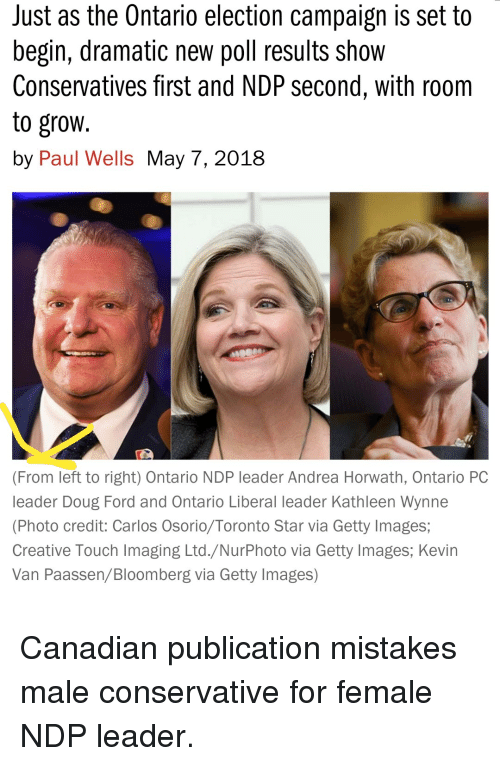Doug, Facepalm, and Ford: Just as the Ontario election campaign is set to  begin, dramatic new poll results show  Conservatives first and NDP second, with roorm  to grow  by Paul Wells May 7, 2018  (From left to right) Ontario NDP leader Andrea Horwath, Ontario PC  leader Doug Ford and Ontario Liberal leader Kathleen Wynne  (Photo credit: Carlos Osorio/Toronto Star via Getty Images;  Creative Touch Imaging Ltd./NurPhoto via Getty Images, Kevirn  Van Paassen/Bloomberg via Getty Images) Canadian publication mistakes male conservative for female NDP leader.