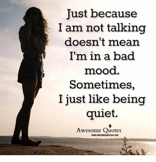 Just Because I Am Not Talking Doesnt Mean Im In A Bad Mood