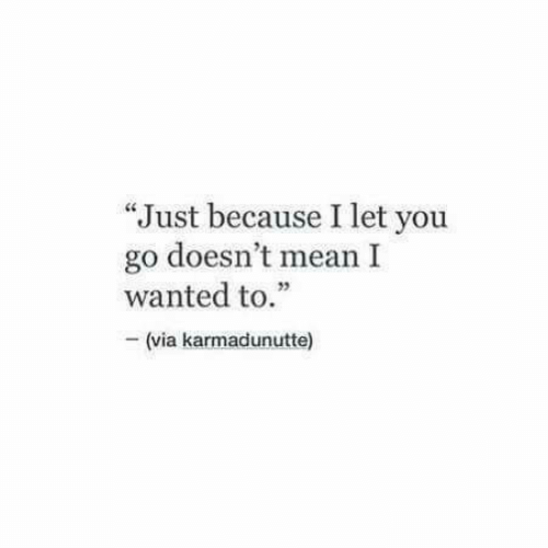 "Mean, Wanted, and Via: ""Just because I let you  go doesn't mean I  wanted to.""  - (via karmadunutte)"
