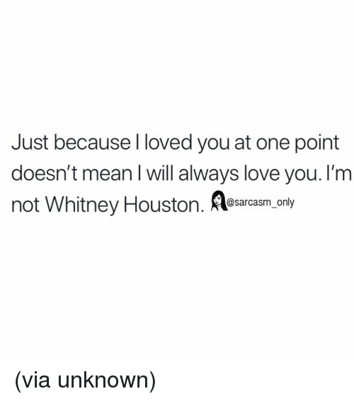 whitney houston: Just because I loved you at one point  doesn't mean I will always love you. I'm  not Whitney Houston. Aesarcasm.ony (via unknown)