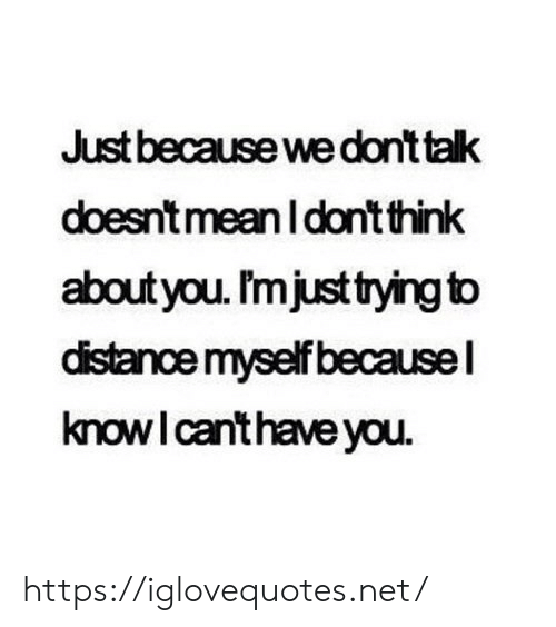 Mean, Net, and Think: Just because we don't talk  doesn't mean Idont think  about you. Imjust trying to  distancemyself becausel  knowI canthave you. https://iglovequotes.net/