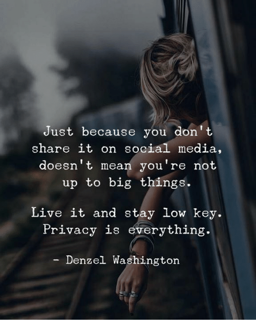 Denzel Washington: Just because you don't  share it on social media,  doesn't mean you're not  up to big things.  Live it and stay low key.  Privacy is everything.  Denzel Washington