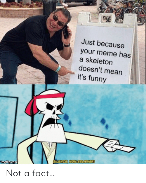 Its Funny: Just because  your meme has  a skeleton  doesn't mean  it's funny  SILENCE, NON-BELIEVER!  imgflip.com Not a fact..