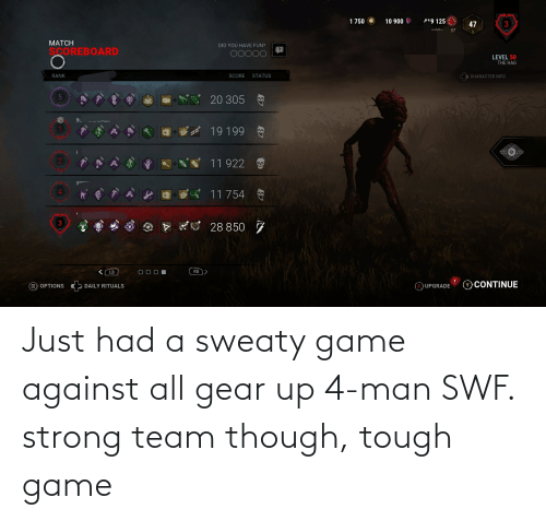 sweaty: Just had a sweaty game against all gear up 4-man SWF. strong team though, tough game