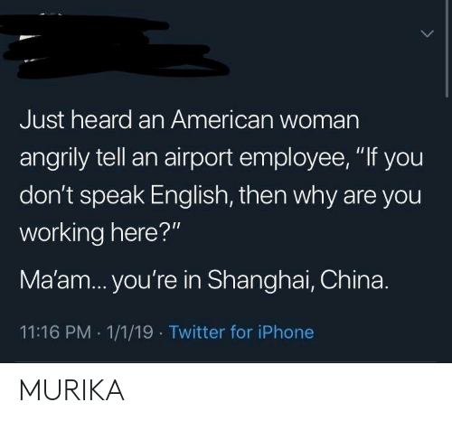 "dont speak: Just heard an American woman  angrily tell an airport employee, ""If you  don't speak English, then why are you  working here?""  Ma'am... you're in Shanghai, China.  11:16 PM 1/1/19 Twitter for iPhone MURIKA"