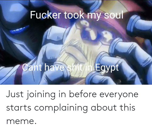 Starts: Just joining in before everyone starts complaining about this meme.