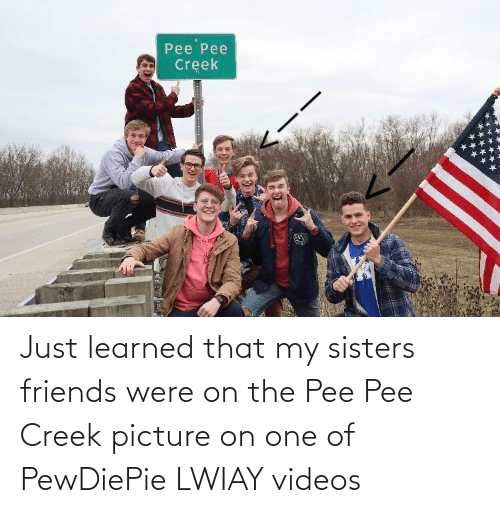 sisters: Just learned that my sisters friends were on the Pee Pee Creek picture on one of PewDiePie LWIAY videos