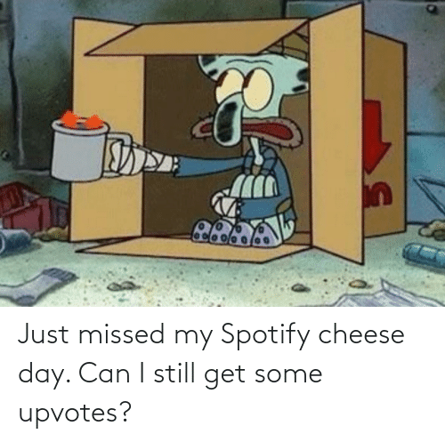 Upvotes: Just missed my Spotify cheese day. Can I still get some upvotes?