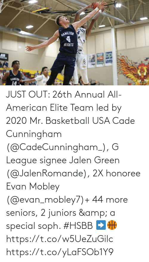 seniors: JUST OUT: 26th Annual All-American Elite Team led by 2020 Mr. Basketball USA Cade Cunningham (@CadeCunningham_), G League signee Jalen Green (@JalenRomande), 2X honoree Evan Mobley (@evan_mobley7)+ 44 more seniors, 2 juniors & a special soph. #HSBB    ➡️🏀 https://t.co/w5UeZuGilc https://t.co/yLaFSOb1Y9