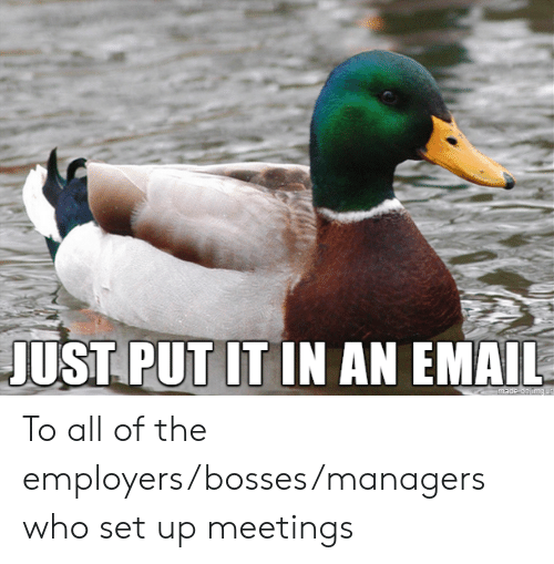 Email, All of The, and Who: JUST PUT IT IN AN EMAIL  made on img ur To all of the employers/bosses/managers who set up meetings
