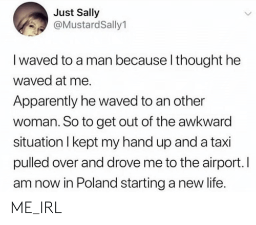 starting a: Just Sally  @MustardSally1  I waved to a man because l thought he  waved at me.  Apparently he waved to an other  woman. So to get out of the awkward  situation I kept my hand up and a taxi  pulled over and drove me to the airport. I  am now in Poland starting a new life. ME_IRL