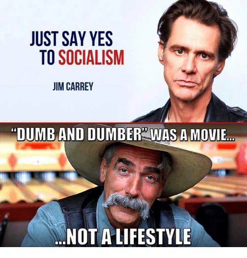 """Dumb, Memes, and Lifestyle: JUST SAY YES  TO SOCIALISM  IM CARREY  """"DUMB AND DUMBER WAS A MOVIE  NOT A LIFESTYLE"""