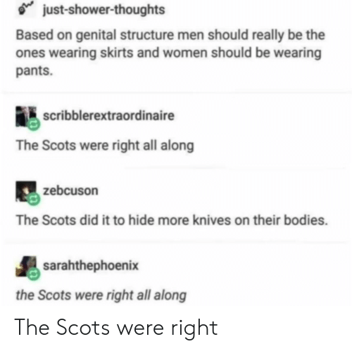 Skirts: just-shower-thoughts  Based on genital structure men should really be the  ones wearing skirts and women should be wearing  pants.  scribblerextraordinaire  The Scots were right all along  zebcuson  The Scots did it to hide more knives on their bodies.  sarahthephoenix  the Scots were right all along The Scots were right