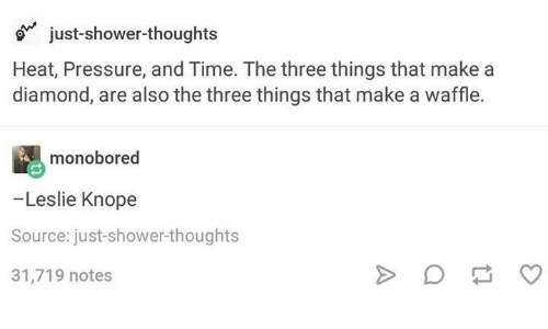Dank, Leslie Knope, and Pressure: just-shower thoughts  Heat, Pressure, and Time. The three things that make a  diamond, are also the three things that make a waffle.  monobored  -Leslie Knope  Source: just shower thoughts  31,719 notes