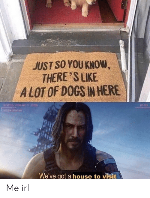 Theres Like: JUST SO YOU KNOW,  THERE'S LIKE  ALOT OF DOGS IN HERE  OCH HY VER2122000  202  We've got a house to visit Me irl
