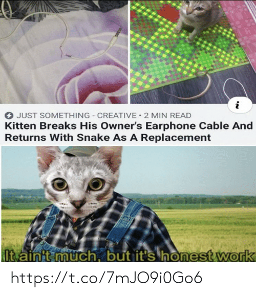 Memes, Work, and Snake: JUST SOMETHING CREATIVE 2 MIN READ  Kitten Breaks His Owner's Earphone Cable And  Returns With Snake As A Replacement  Itain't much, but it's honest work https://t.co/7mJO9i0Go6