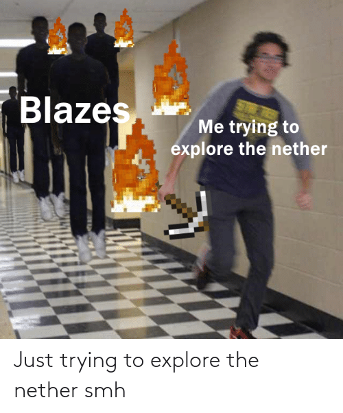 explore: Just trying to explore the nether smh