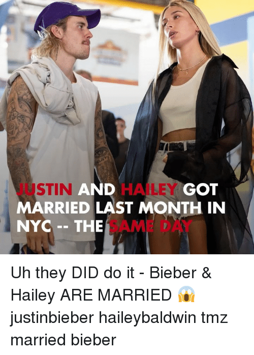 Justinbieber: JUSTIN  MARRIED LAST MONTH IN  NYC - THE AM D  AND  HAILEY  GOT Uh they DID do it - Bieber & Hailey ARE MARRIED 😱 justinbieber haileybaldwin tmz married bieber