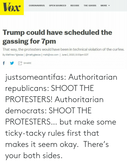 Sides: justsomeantifas: Authoritarian republicans: SHOOT THE PROTESTERS!