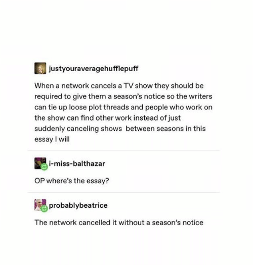 Work, Who, and Can: justyouraveragehufflepuff  When a network cancels a TV show they should be  required to give them a season's notice so the writers  can tie up loose plot threads and people who work on  the show can find other work instead of just  suddenly canceling shows between seasons in this  essay I will  i-miss-balthazar  OP where's the essay?  probablybeatrice  The network cancelled it without a season's notice
