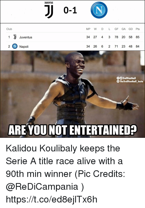 serie a: JUUENTUS  0-1  Club  MP W D L GF GA GD Pts  1  Juventus  34 27 4 3 78 20 58 85  2 Napoli  34 26 6 2 71 23 48 84  TrollFootball  TheTrollFootball_Insta  ARE YOU NOT ENTERTAINED? Kalidou Koulibaly keeps the Serie A title race alive with a 90th min winner (Pic Credits: @ReDiCampania ) https://t.co/ed8ejlTx6h