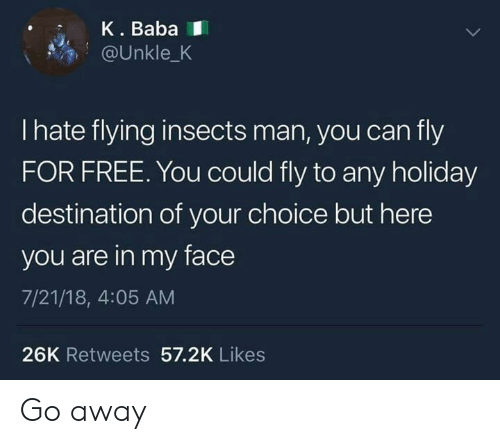 Dank, Baba, and Free: K. Baba  @Unkle_K  I hate flying insects man, you can fly  FOR FREE. You could fly to any holiday  destination of your choice but here  you are in my face  7/21/18, 4:05 AM  26K Retweets 57.2K Likes Go away