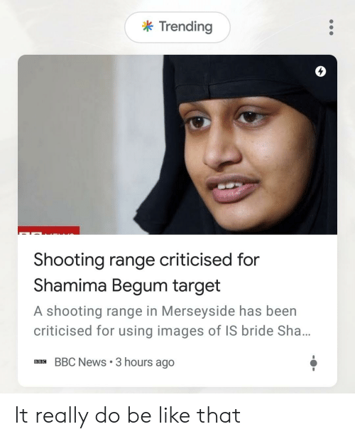 Be Like, News, and Reddit: k Trending  4  Shooting range criticised for  Shamima Begum target  A shooting range in Merseyside has been  criticised for using images of IS bride Sha...  BBC News 3 hours ago It really do be like that