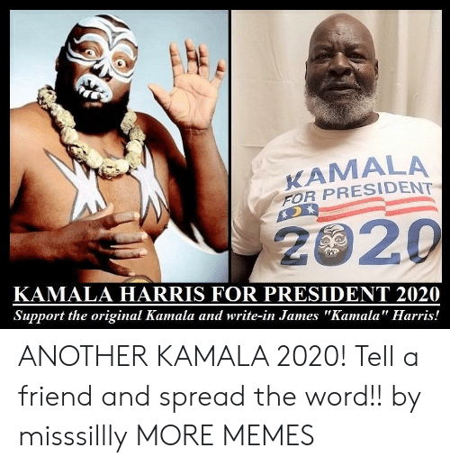 "Dank, Memes, and Target: KAMALA  FOR PRESIDENT  2020  KAMALA HARRIS FOR PRESIDENT 2020  Support the original Kamala and write-in James ""Kamala"" Harris! ANOTHER KAMALA 2020! Tell a friend and spread the word!! by misssillly MORE MEMES"