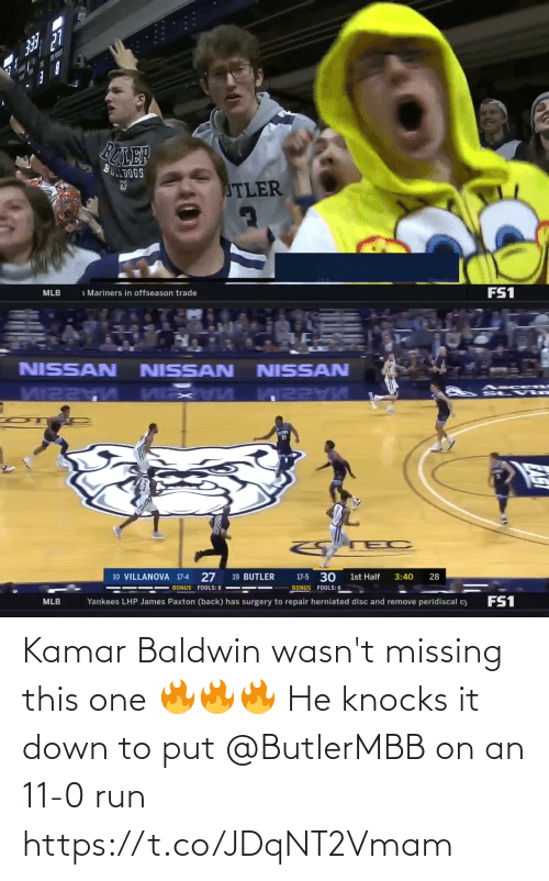 Down To: Kamar Baldwin wasn't missing this one 🔥🔥🔥  He knocks it down to put @ButlerMBB on an 11-0 run https://t.co/JDqNT2Vmam