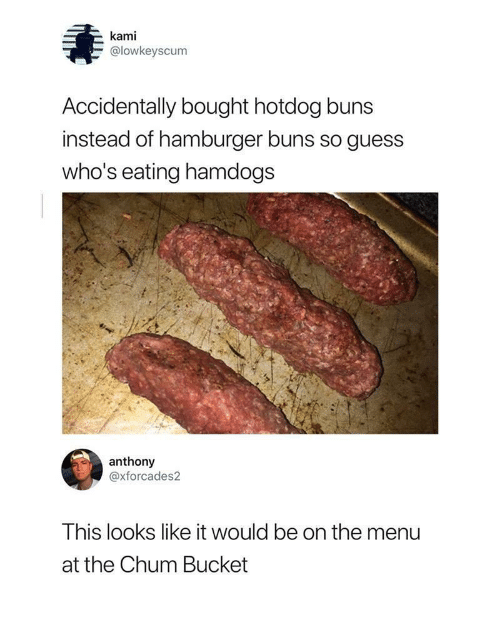 On The Menu: kami  @lowkeyscum  Accidentally bought hotdog buns  instead of hamburger buns so guess  who's eating hamdogs  anthony  @xforcades2  This looks like it would be on the menu  at the Chum Bucket