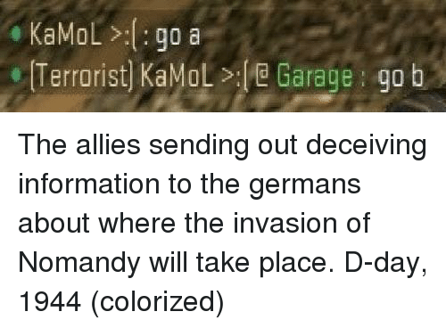 d-day: KaMoL>:go a  Terrorist) KaMoL>e Garage go b The allies sending out deceiving information to the germans about where the invasion of Nomandy will take place. D-day, 1944 (colorized)