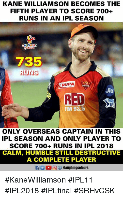 Jio: KANE WILLIAMSON BECOMES THE  FIFTH PLAYER TO SCORE 700+  RUNS IN AN IPL SEASON  AUGHING  735  RUPA  Jio  RED  PU  FM 93.5  ONLY OVERSEAS CAPTAIN IN THIS  IPL SEASON AND ONLY PLAYER TO  SCORE 700+ RUNS IN IPL 2018  CALM, HUMBLE STILL DESTRUCTIVE  A COMPLETE PLAYER  f /laughingcolours #KaneWilliamson #IPL11 #IPL2018 #IPLfinal #SRHvCSK