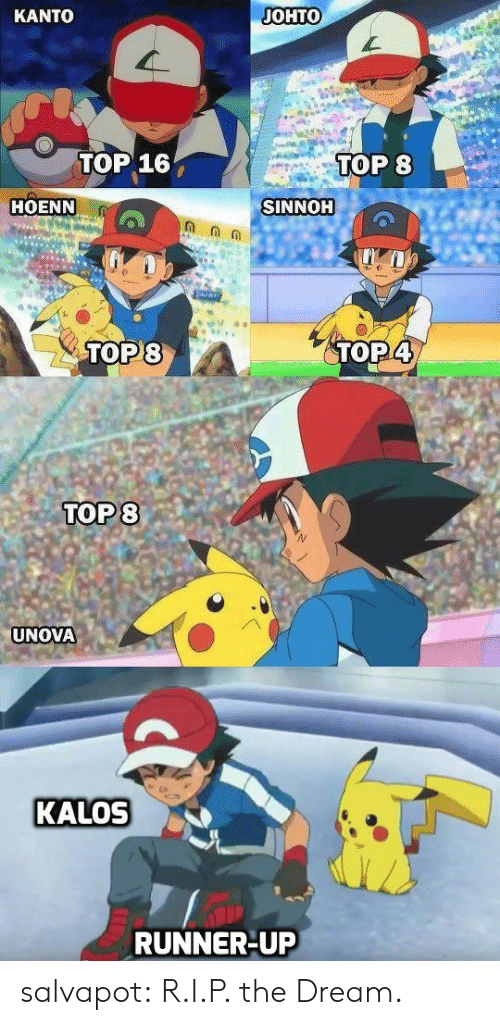kalos: KANTO  JOHTO  TOP 16  TOP 8  HOENN  SINNOH  TOP8  TOP4  TOP 8  UNOVA  KALOS  RUNNER-UP salvapot:  R.I.P. the Dream.