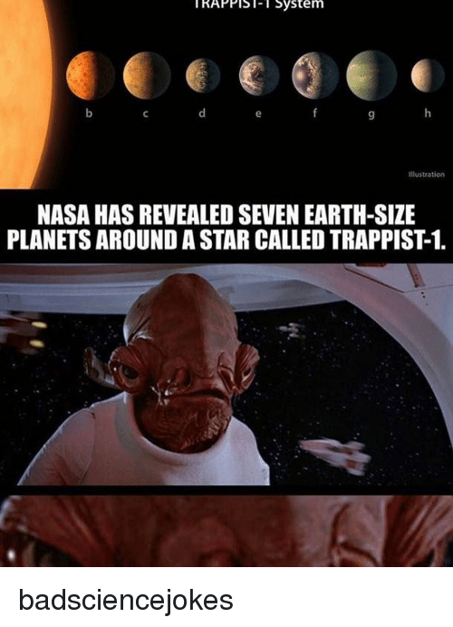 Appling: KAPPIS System  Appl Sol- l System  Illustration  NASA HASREVEALED SEVEN EARTH-SIZE  PLANETS AROUND A STAR CALLEDTRAPPIST1. badsciencejokes