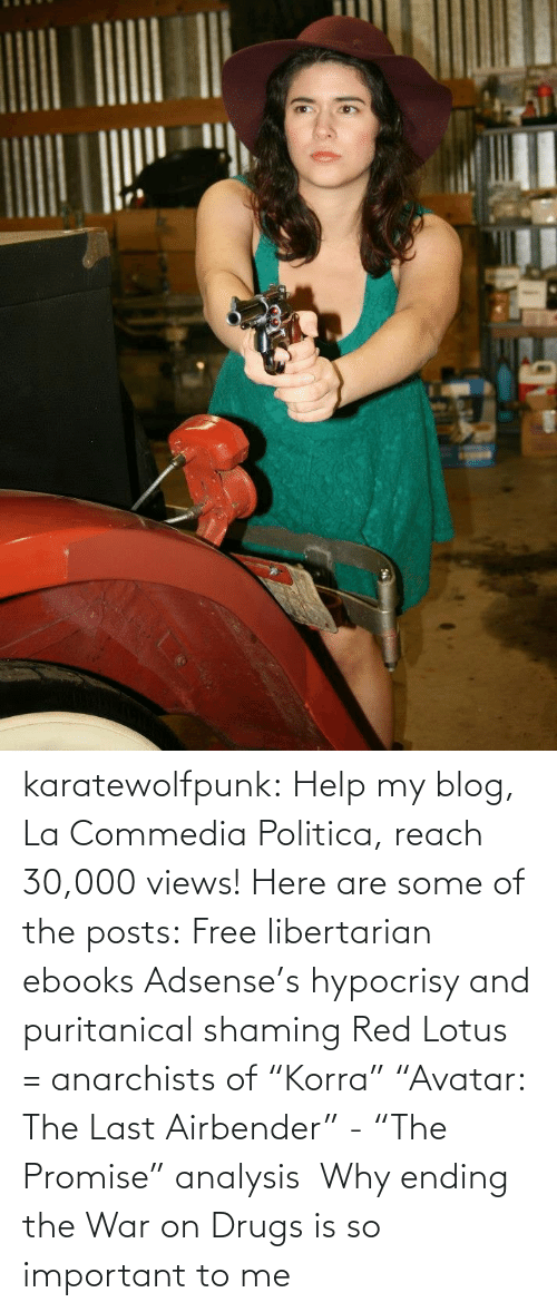 """Politica: karatewolfpunk:  Help my blog, La Commedia Politica, reach 30,000 views! Here are some of the posts: Free libertarian ebooks Adsense's hypocrisy and puritanical shaming Red Lotus = anarchists of""""Korra"""" """"Avatar: The Last Airbender"""" - """"The Promise"""" analysis Why ending the War on Drugs is so important to me"""