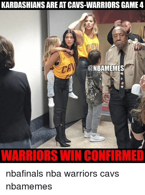 Basketball, Cavs, and Kardashians: KARDASHIANS ARE AT CAVS-WARRIORS GAME 4  @NBAMEMES  WARRIORS WIN CONFIRMED nbafinals nba warriors cavs nbamemes