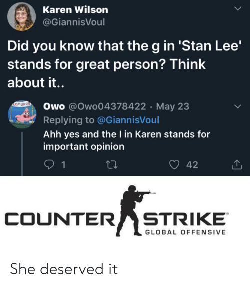 Counter Strike, Stan, and Stan Lee: Karen Wilson  @GiannisVoul  Did you know that the g in 'Stan Lee'  stands for great person? Think  about it..  EMOn9a  Owo @Owo04378422 May 23  Replying to @GiannisVoul  Ahh yes and the I in Karen stands for  important opinion  42  1  COUNTER  STRIKE  GLOBAL OFFENSIVE She deserved it