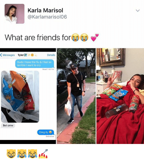 Dude, Friends, and Memes: Karla Marisol  @Karlamarisol06  What are friends for  K Messages  Tyler  Details  Dude I have the flu & I feel so  terrible I want to cry  Read 7:48 PM  Bet omw  omg ily  Delivered 😸😹😹💅