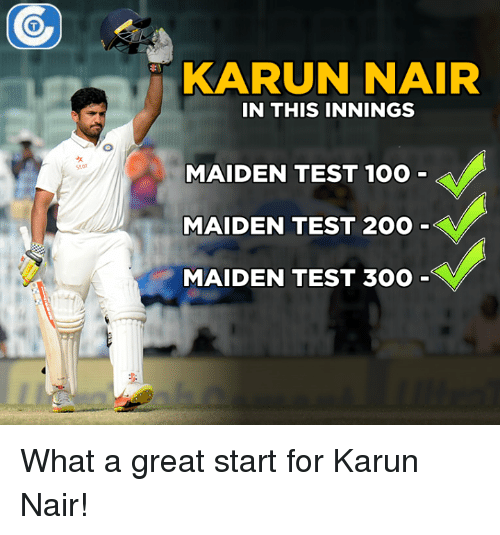 Karun Nair: KARUN NAIR  IN THIS INNINGS  MAIDEN TEST 100  MAIDEN TEST 200  MAIDEN TEST 300 What a great start for Karun Nair!