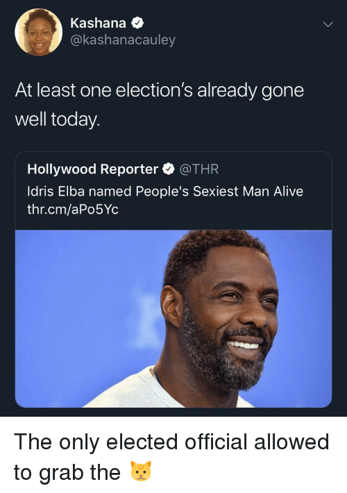 Grab The: Kashana  @kashanacauley  At least one election's already gone  well today.  Hollywood Reporter @THR  ldris Elba named People's Sexiest Man Alive  thr.cm/aPo5Yc The only elected official allowed to grab the 🐱