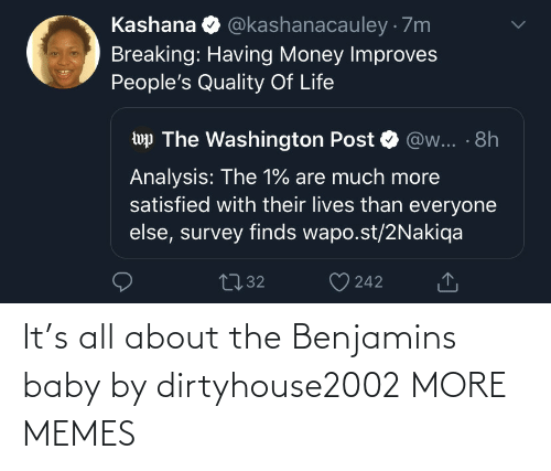 The 1: @kashanacauley · 7m  Kashana  Breaking: Having Money Improves  People's Quality Of Life  wp The Washington Post  @w... · 8h  Analysis: The 1% are much more  satisfied with their lives than everyone  else, survey finds wapo.st/2Nakiqa  2732  242 It's all about the Benjamins baby by dirtyhouse2002 MORE MEMES