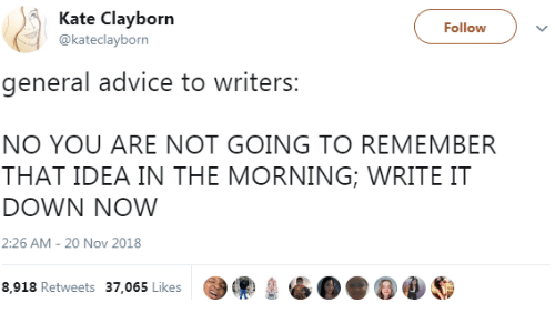 Advice, Idea, and Down: Kate Clayborn  @kateclayborn  Followv  general advice to writers  NO YOU ARE NOT GOING TO REMEMBER  THAT IDEA IN THE MORNING; WRITE IT  DOWN NOW  2:26 AM- 20 Nov 2018  8,918 Retweets 37.065 Likes99